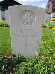 Buried in Y Farm Military Cemetery.
