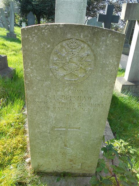Commonwealth wargraves commission headstone , marking his grave in the Nottingham Rock (Church) Cemetery courtesy of Peter Gillings