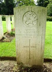 The commonwealth war graves commission headstone marking his gare at La Cateau Military Cemetery, France, courtesy of Len Scott and  findagrave website.