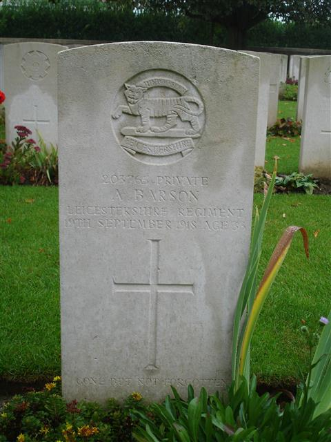 Commonwealth war grave commission headstone marking the grave of Alfred Barson at Chappelle British Cemetery, Honlon and is courtesy of Derek Jackson