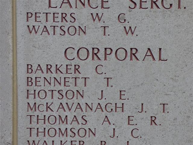 His name is commemorated on the Lone Pine Memorial, Gallipoli , photo courtesy of Jim Grundy and his facebook pages Small Town Great War Hucknall 1914-1918
