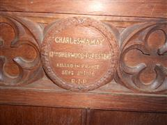 Wooden memorial in St Mary Magdalene Church, Hucknall, courtesy of Peter Gillings