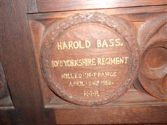 Wooden memorial in St Mary Magdalene Church, Hucknall courtesy of Peter Gillings