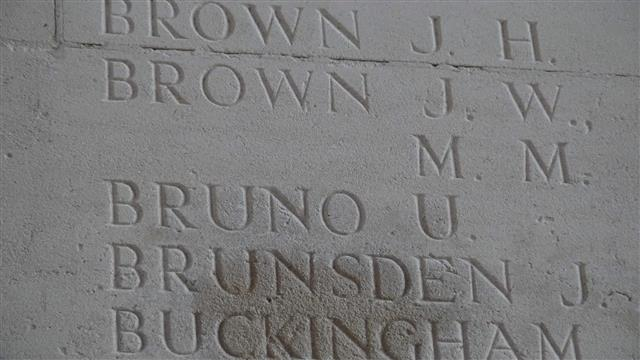 Umberto Bruno  commemorated on the Thiepval Memorial, Somme, courtesy of Jim Grundy and his facebook pages Small Town Great War Hucknall 1914-1918